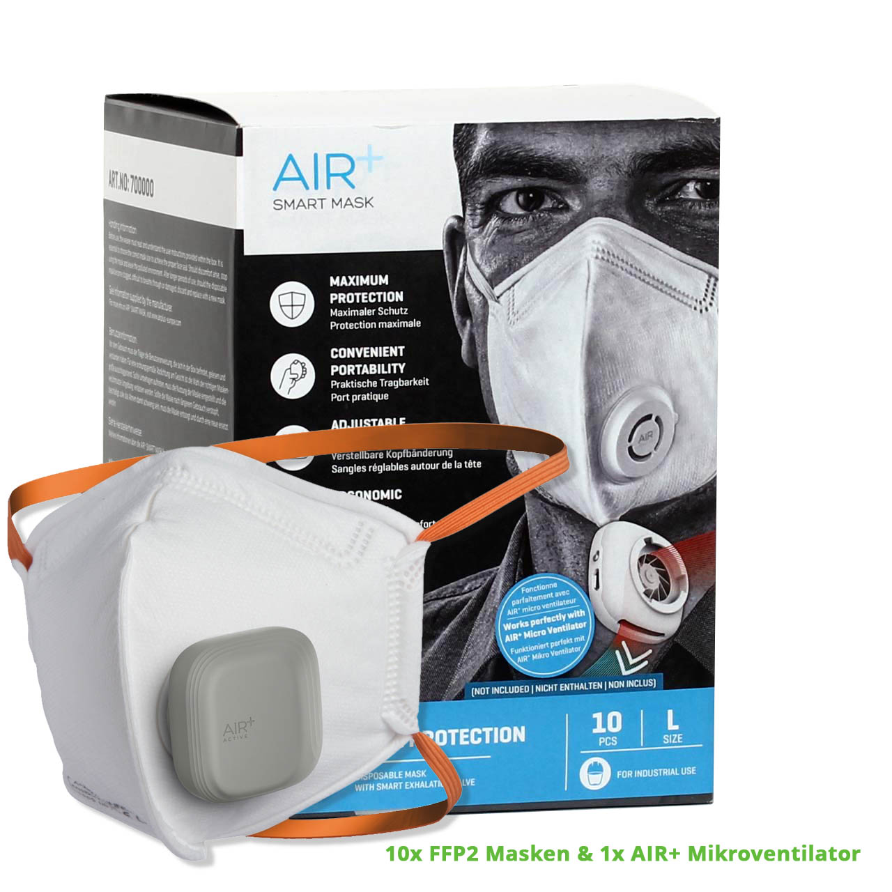 Ventilator & 10 FFP2 Masken | AIR+ Shop